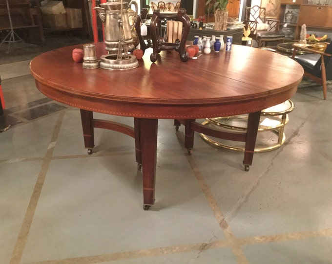 Ca 1890  Solid Mahogany 65 inches Round Center or Dining Table
