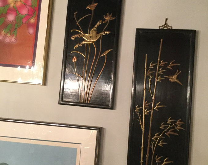 Ca. 1900s Four Panels Black Lacquer with Bronze Inlays of Flowers and Birds