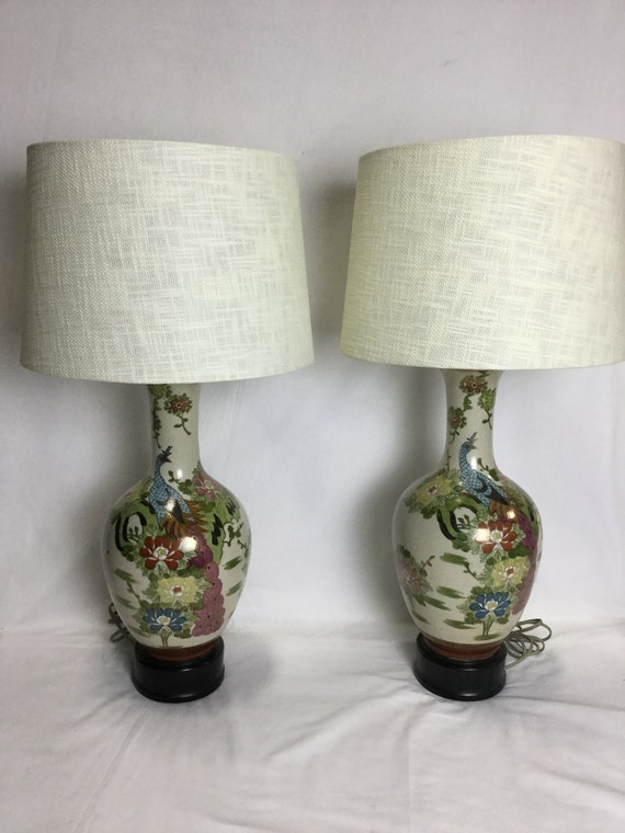 Ca. 1920 Rare Pair Of Kinkozan Satsuma Lamps Signed with Clan Marks Decorated with traditional Satsuma colors with Flowers and Peacocks