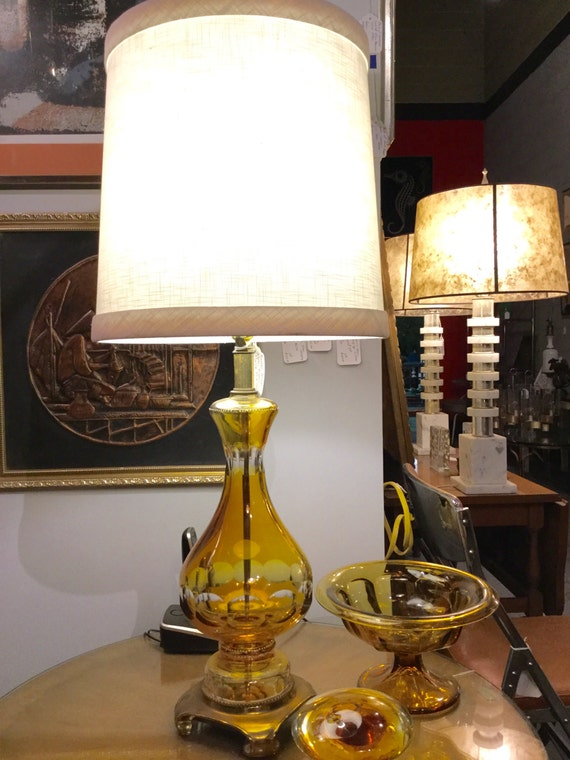Amber Murano Mid century Lamp with Footed brass base.