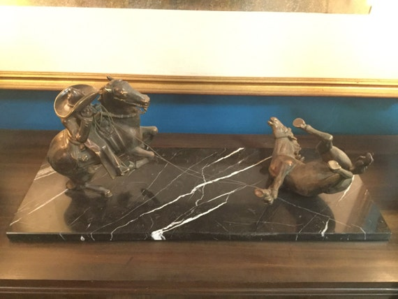 SOLD - Mid century monumental Bronze and Marble Cowboy Rodeo Sculpture