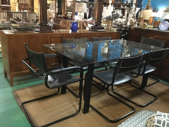 SOLD - Italian by Mart Stam Black Powder Coated Base Dining Set with Six Leather Chairs 2 Arms 4 Side Chairs Glass Top