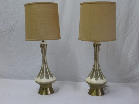 Pair of 1960s Quartite Creative Corp. signed Ceramic Lamps with Brass Base