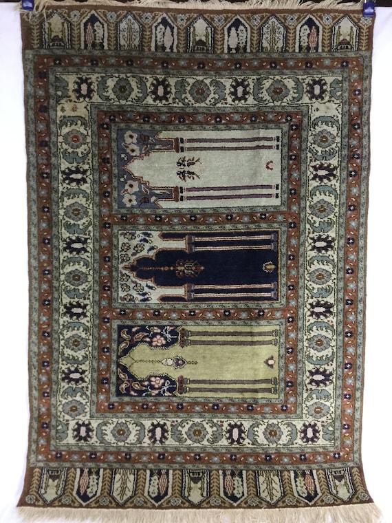 Silk Tabriz Columned Prayer Rug Northwest Persia Late 19th century