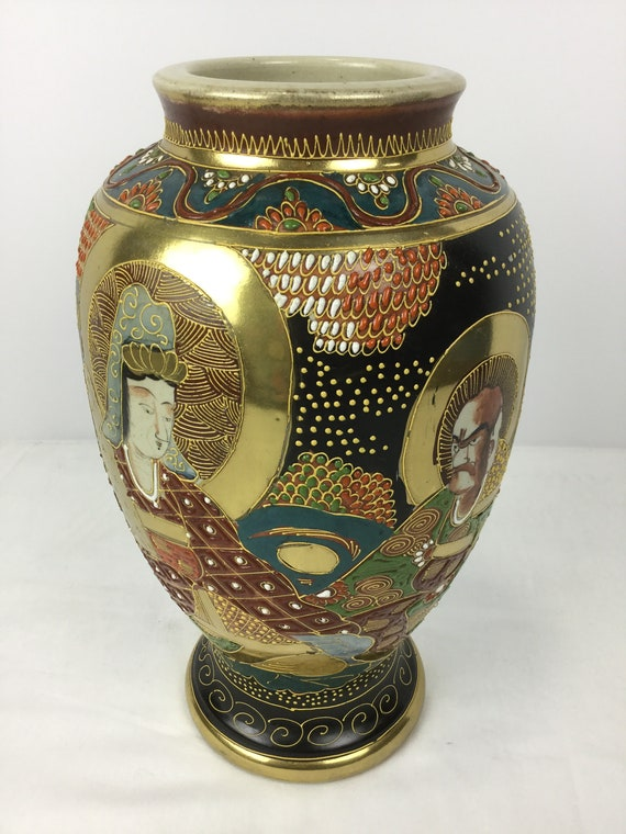 SOLD - Ca.1930s-1940s Satsuma Vase with Moriage Relief Mark illegible Japanese Export
