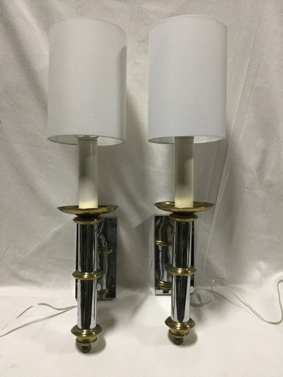 Chrome and Brass Wall Sconces or Bedside Sconces by Forecast Lighting Ca. 1970s