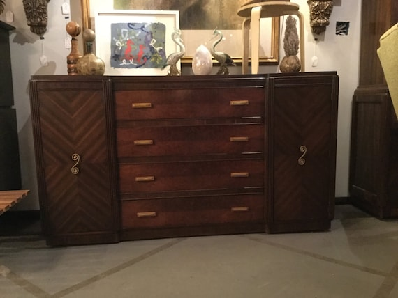 SOLD - Ca 1930s Art Deco Sideboard in Maccassar and Burled Walnut