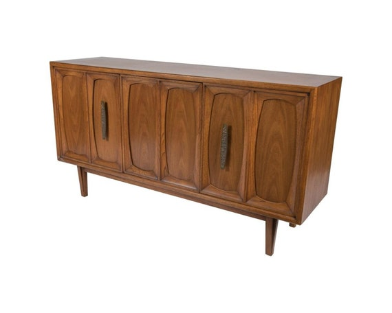 SOLD - SOLD - Mid Century Pecan Wood Credenza with Brutalist Pulls
