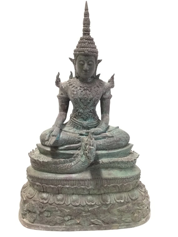 Ca. 15th -16th century Single Lotus Buddha Multi tiered Base finely casted with Turtles Fish Shrimp with Naga the Serpent God