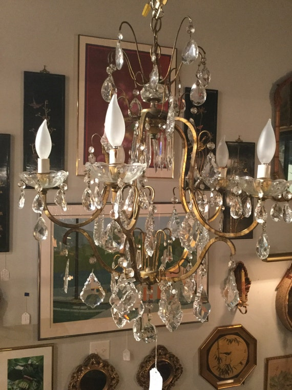 SOLD: Bronzed and Austrian Crystal Chandelier  ca. Mid century