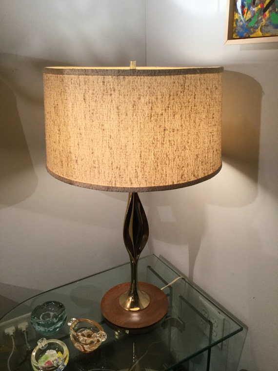 Hollywood Regency Brass and Wood base Pair of Lamps Ca.1950s