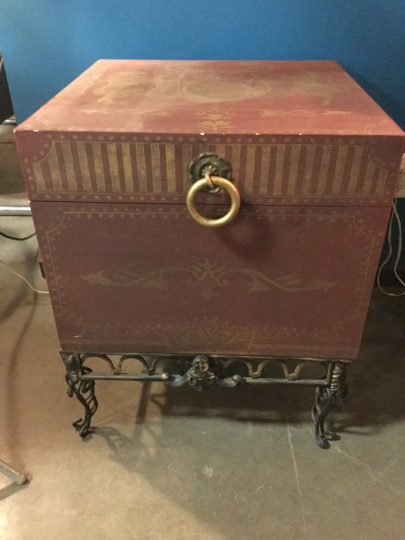 Mid century Handpainted Wooden Trunk on Stand