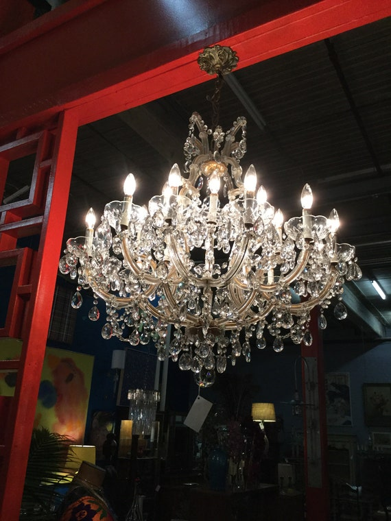 SOLD - Monumental 21 Lights Maria Therese Italian Hand Cut Crystal Chandelier with crystal Bobeche