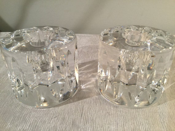 SOLD - Ca. 1960s signed Orrefors Candle Holders