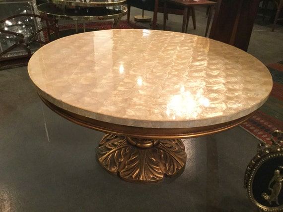 Ca. 1900s Lacquered Capiz-Shell top with Guilded Handcarved Mahogany Base