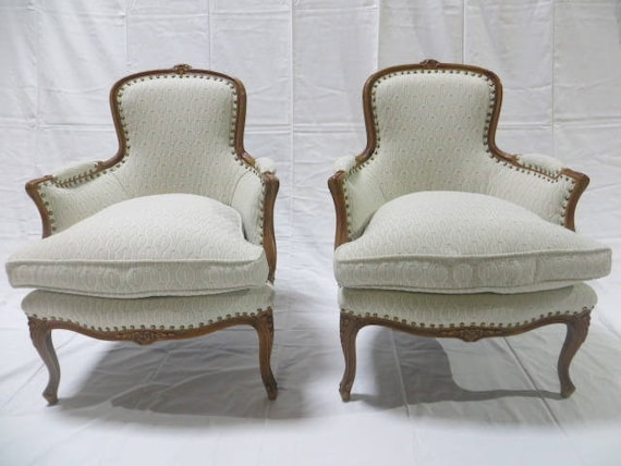 SOLD: Late 19th Century French Fauteuil Armchair Down Filled Re-Upholstered in Heavy duty Cotton Loomed Fabric with Antique Brass Nailheads