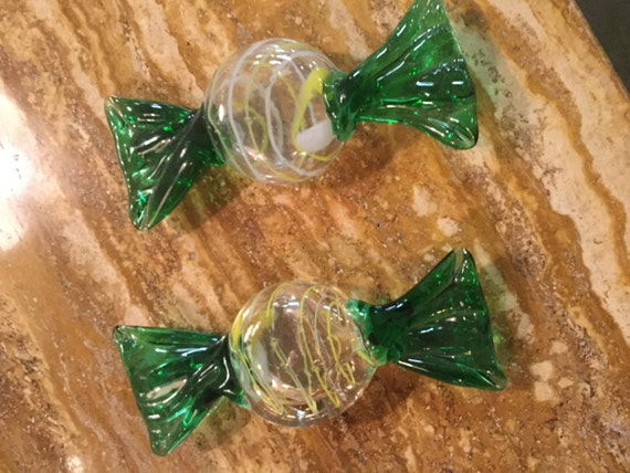 SOLD: Large Pair of Murano Mouth-blown Glass Candy