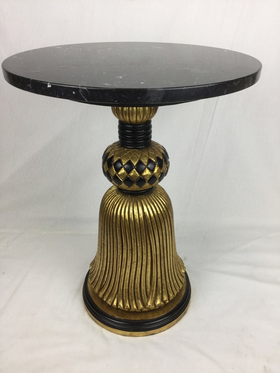 SOLD - Ca. 1930s Italian Art Deco 15 3/4 inches Diameter Marble Top and Wood Base gilded in 22K Tassle Table