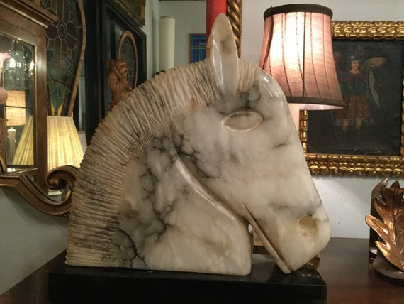 SOLD: Mid Century Hand Carved Alabaster Horse Head Sculpture
