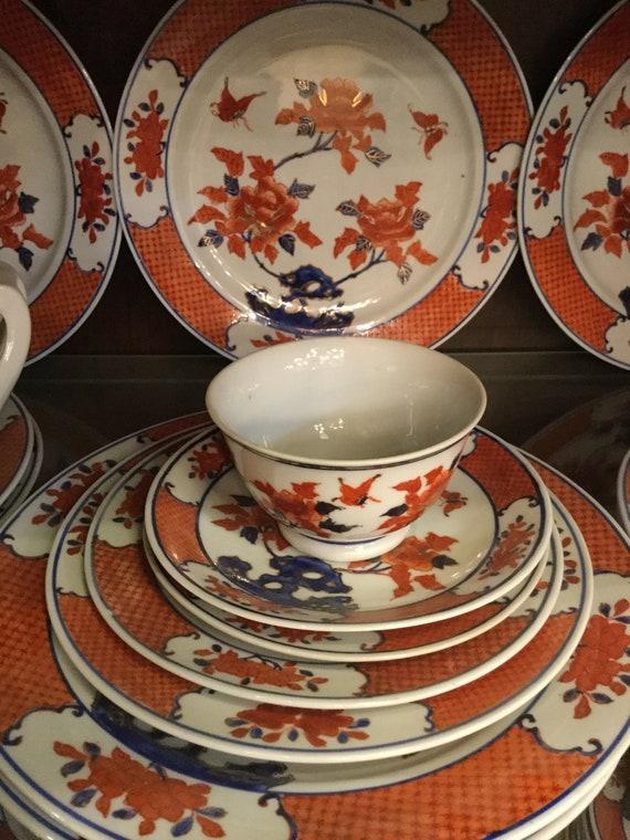 "Mark Yang Chen ""Goat City"" GuongZhu Late 19th Century Chinese Imari service for 12 with Service Plates"