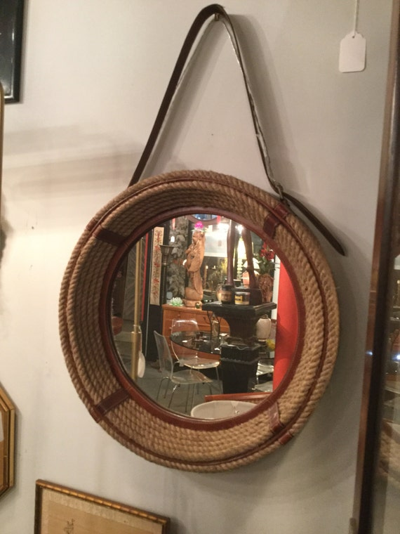 SOLD - Rope and Leather Mirror