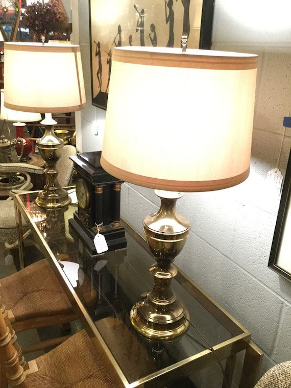 SOLD - Pair of solid Brass Baluster form Lamps MidCentury by Stiffel