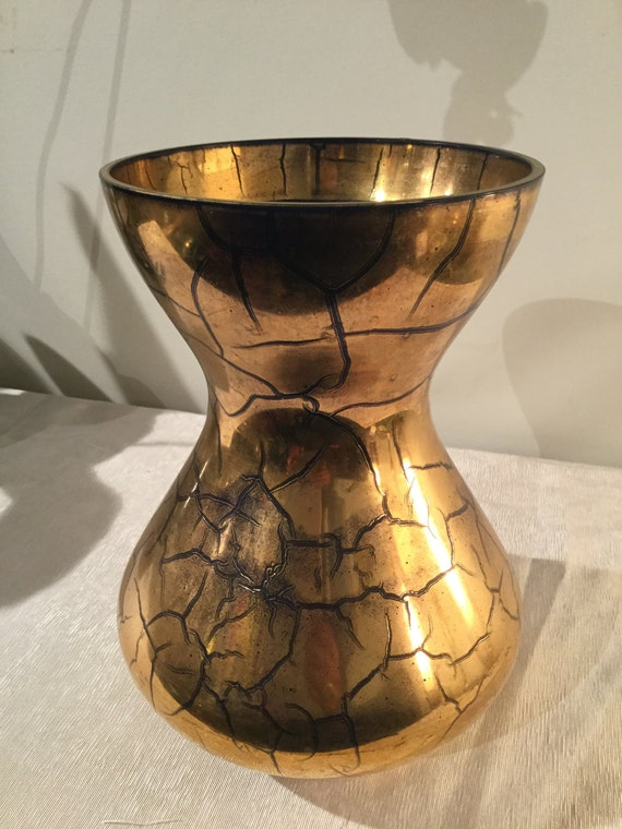 Ca. 1930s Verre Dorre St.Prex French Swiss Gold Vase