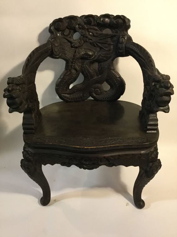 SOLD - Ca. 1880s Chinese Carved Hangmuwood or Blackwood Dragon Chair with Mother of Pearl Eyes