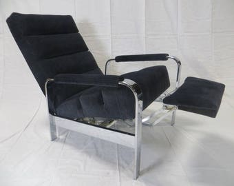 SOLD: Ca. 1950s Milo Baughman Chrome Recliner Re-Upholstered in Heavy Duty Cotton and Wool Striated VelVet