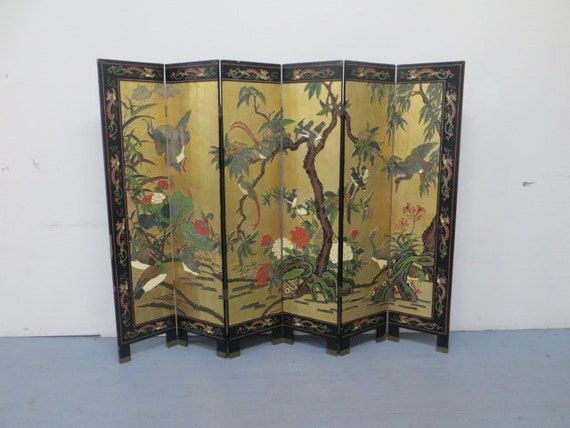 SOLD - A Late 19th-Early 20th Century 6 panel Chinese Coromandel Screen Handcarved and HandPainted with 22K Gold Leaf Background