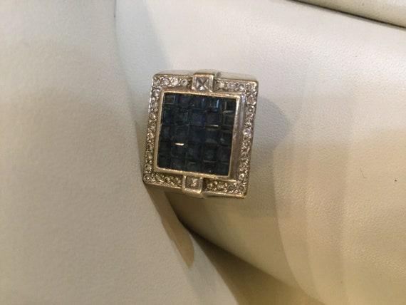 Art Deco Style Princess Cut Sapphire and Vs Diamond Ring Channel set