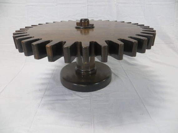 Ca.1960s One of a kind Solid Walnut Wooden Gear Rotating 360 degrees Cocktail Table