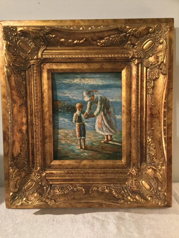 SOLD: Beautiful Mother and Child at the Beach Painting on Board signed Coet