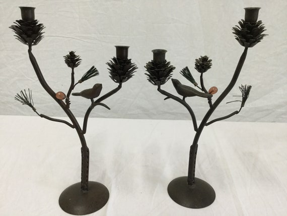 SOLD - Mid-Century Iron Chinnoisserie Style Birds and Pine Cones Candle holders