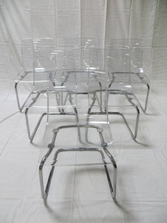 Ca. 1990s Carl Ojerstam Six Lucite and Chrome Chairs