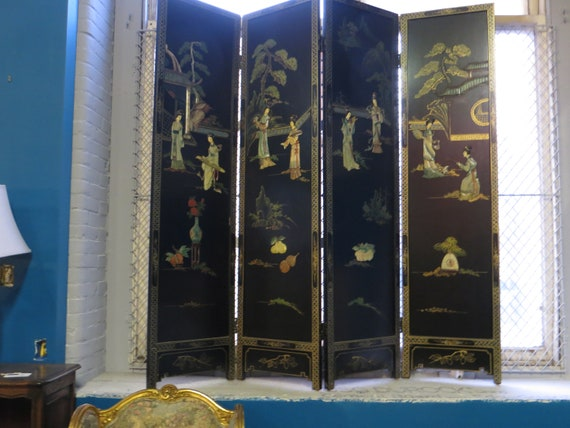 Ca. 1950s Hardstone and Hand-Painted Four Panel Screen