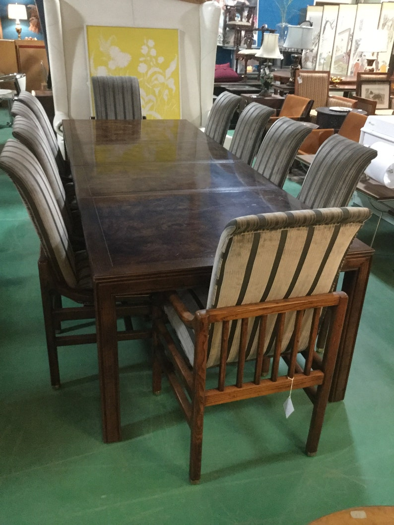fbe22c20229cf Ca. 1970s Henredon Dining Set in Solid Walnut Parquetry top on