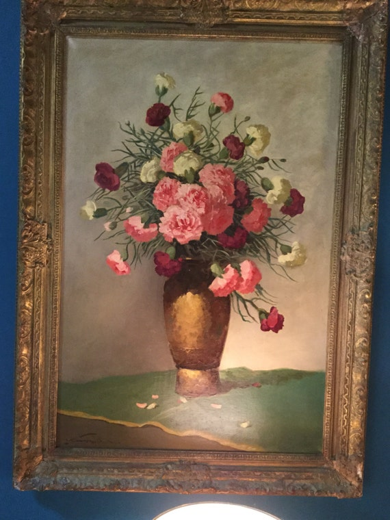 SOLD - Signed L. Kesregi Early 20th C. Still Life painting of Carnations