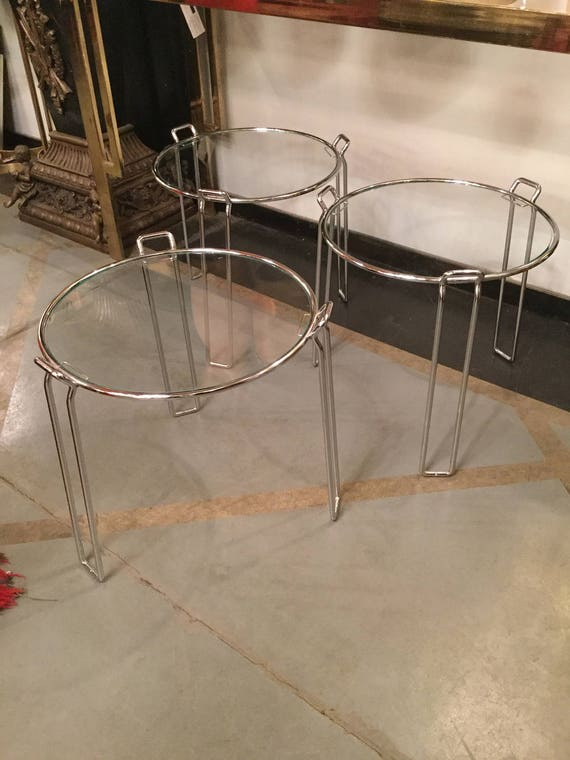 SOLD: Modern Chrome and Glass Nesting Tables by Saporiti, Italy