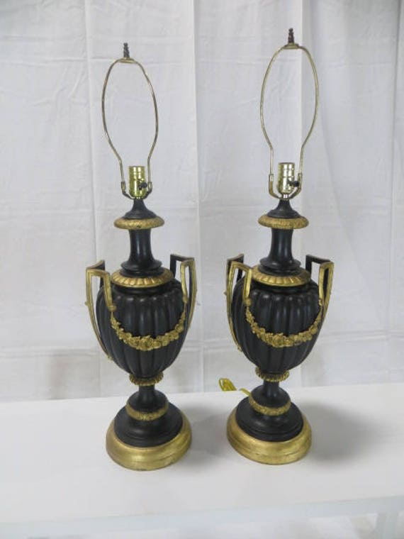 SOLD - French Late 19th c.  Blackened Bronze Pair of Lamps with Gilded Ormolu