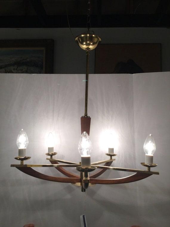 Mid Century Brass and Teak 5 Light Chandelier