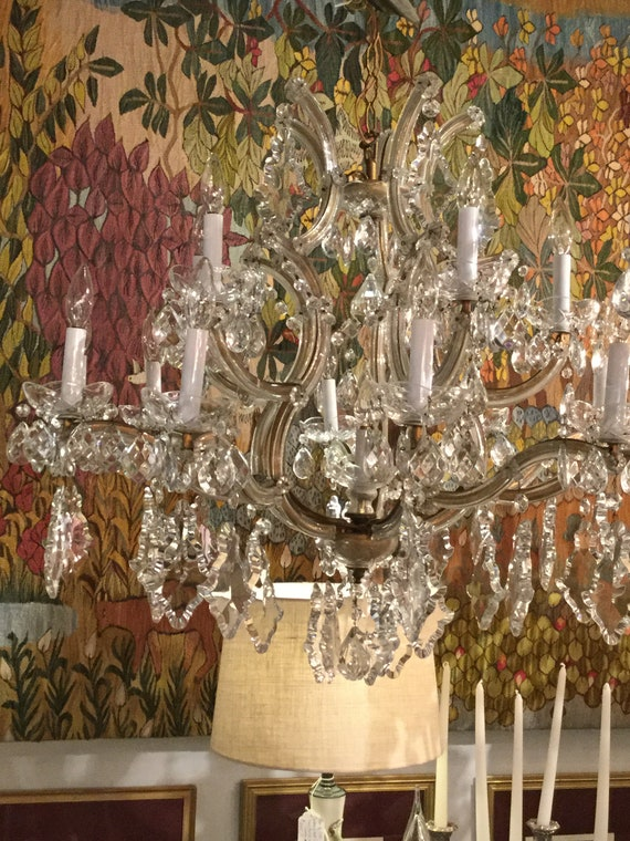 SOLD - Ca. 1900s Monumental Maria Therese Italian Chandelier 16 light Bobeche with Crystals