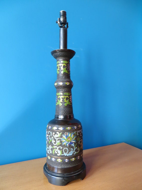 SOLD - Champleve Bronze Painted Lamp
