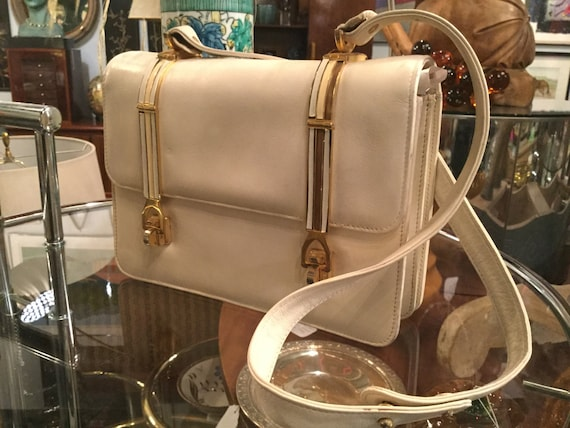 SOLD: Vintage cream Colored Calfskin Italian Leather Purse with Unusual Clasps