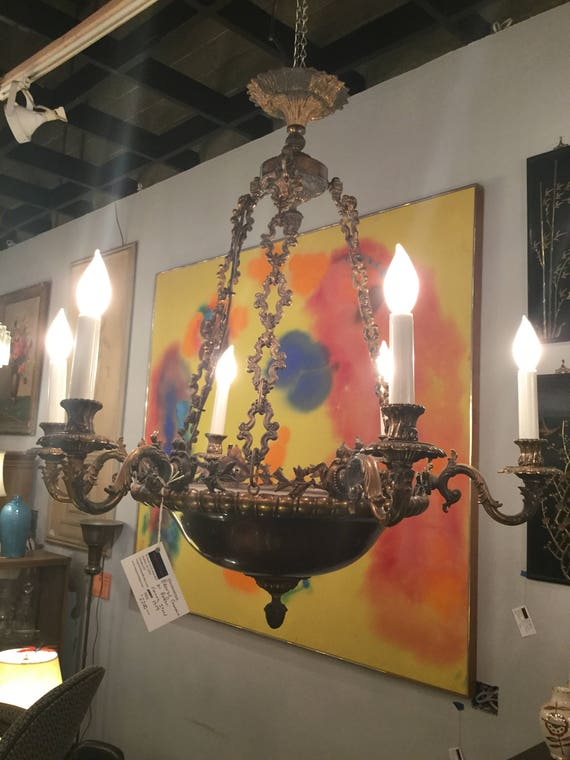 SOLD - Ca.1959 Bronze Chandelier by Bodari Florence, Italy