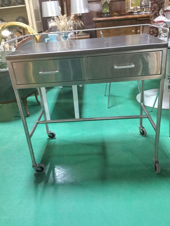 SOLD: Stainless Steel High Quality Industrial Bar Cart