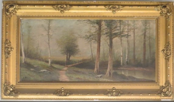 Signed E.Norie 1912 Foot Bridge on a Misty Day Oil on Linen Canvas