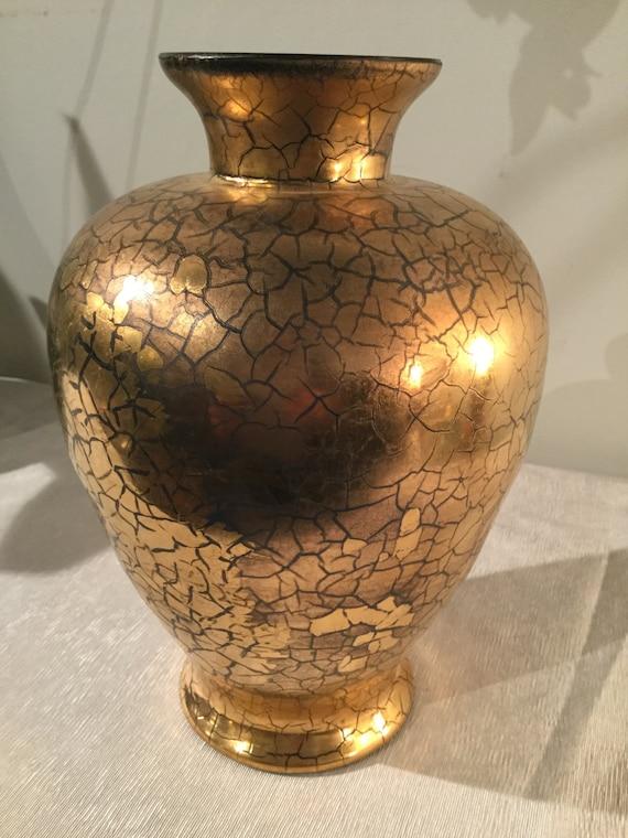 Ca. 1930s Verre Dorre Saint Prex French Swiss 24K Gold Vase