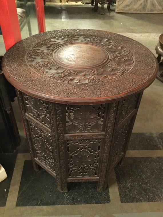 Signed North American Enterprises Inc ca. 1890s, Northern India Hand Carved Round Table