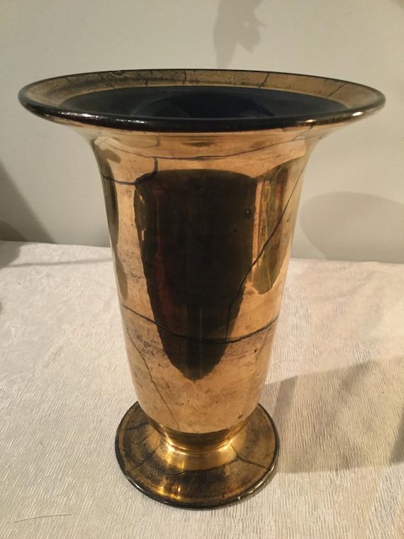 Ca.1930s Verre Dorre St. Prex French Swiss 24K Gold Vase